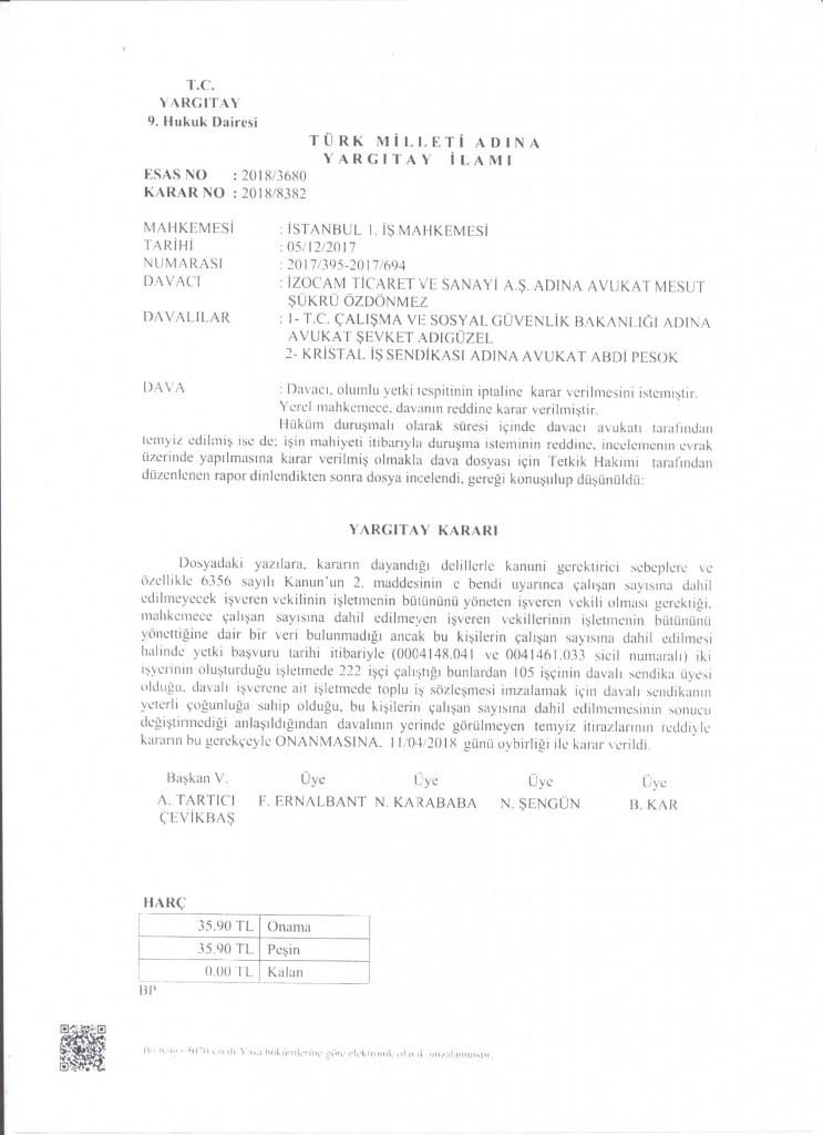 T.C. Yargıtay 9. Hukuk Dairesi